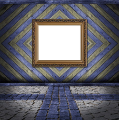 golden frame on blue and yellow vintage plank background and cro