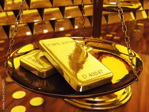 Gold ingots on brass scale ,3d illustration