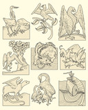 Set of animals and medieval scenes poster