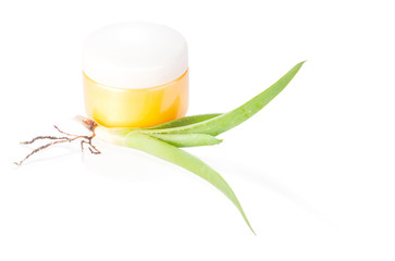 Jar of moisturizing cosmetics with aloe