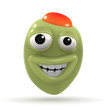 3d Stuffed green olive grins broadly