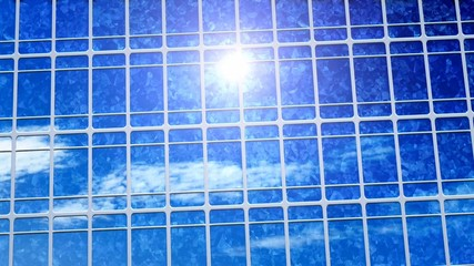 clouds and sun reflection on solar panels