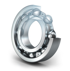 Detailed bearing design, isolated on white