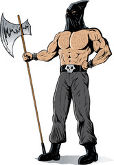 Drawing of a muscular executioner