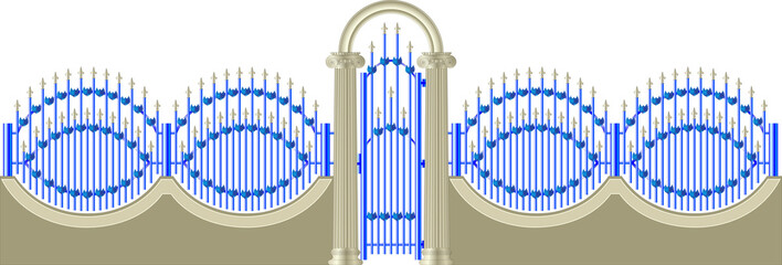 gates and fences with Ionic columns
