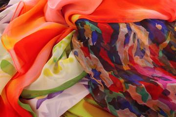 many bright beautiful fabrics