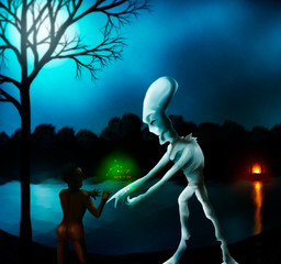 alien showing astrological data to ancient woman