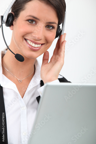 female telesales worker