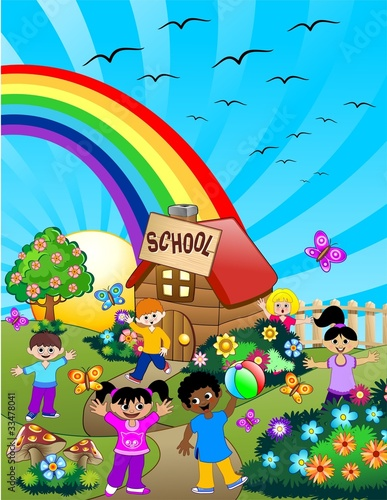 Foto Spatwand Vogels, bijen Bambini a Scuola-Children at School-Vector