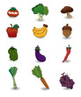 cartoon Fruits and Vegetables icon set.