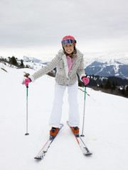 Young Woman On Skis