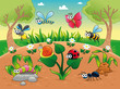 Bugs  with background. Vector illustration, isolated characters.