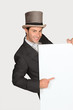 Man in top hat with blank board