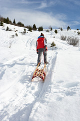 Pre-teen Boy Pulling A Sled In The Snow