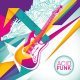 Acid funk background in color. poster
