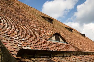 Altes Ziegeldach mit Dachfenstern