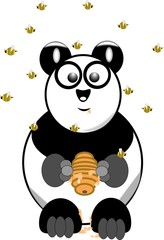 panda bear with beehive and swarm of bees overhead