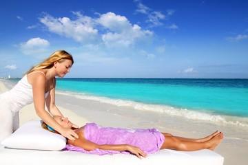 Mayan reiki massage in Caribbean beach woman