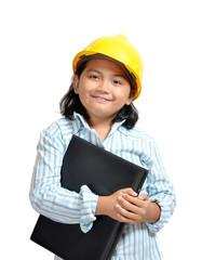 beautiful young asian girl acting as future engineer