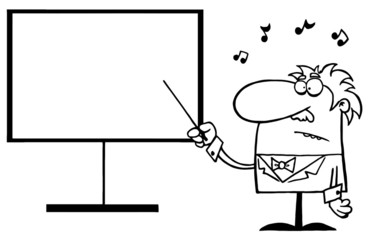 Outlined Music Teacher Pointing To A Blank Board