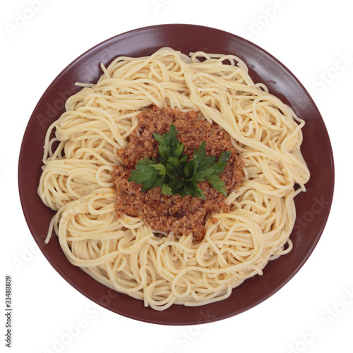 Spaghetti with beef and tomato ragu. Isolated on white