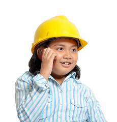 Young Engineer Girl in Phone