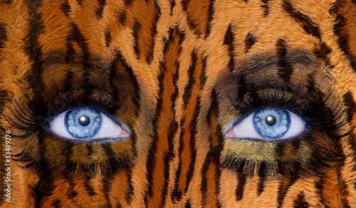 blue fashion makeup eyes leopard jaguar skin texture