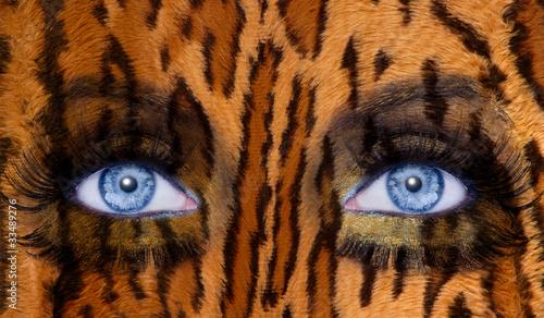 blue fashion makeup eyes leopard jaguar skin texture