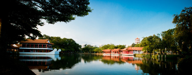 Chinese pavilion and pagoda on the lake