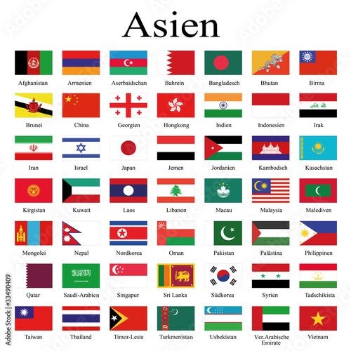Länderflaggen Asien