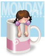 Girl sleeping in a mug on monday