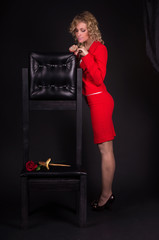 Sensual lady in red with snake