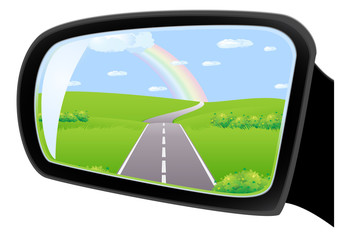 Road with rainbow in side mirror of car