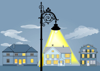Wohnhaus beleuchtet