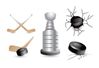 Hockey trophy, sticks, and pucks, on white background