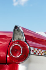 detail of red cabriolet vintage car