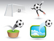 Soccer balls on various backgrounds