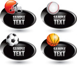 Sports balls and gear on silver swoosh banners poster