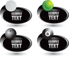 Golf, tennis, bowling, and eight balls on black swoosh banners
