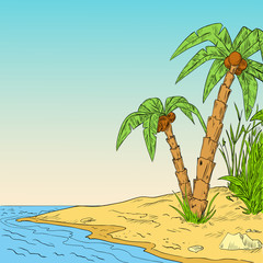 Color sketch of tropical palm on coast of ocean