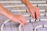 Fussbodenheizung verlegen - install under slab heating 01 poster