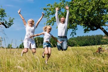 Glückliche Familie im Freien springt hoch