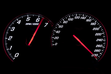 Speedometer and revcounter reaching the limit