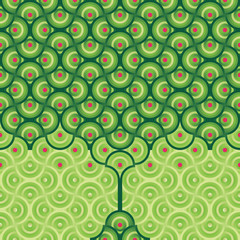 Seamless vector background - summer tree pattern