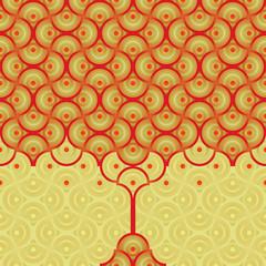 Seamless vector background - autumn tree pattern
