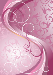 Waves and stripes on a light purple background.Banner