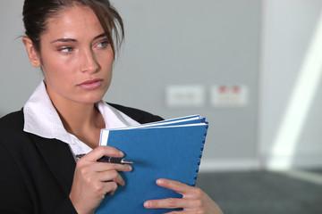 Office worker with folders