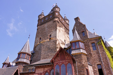 Detailed view of a historic castle