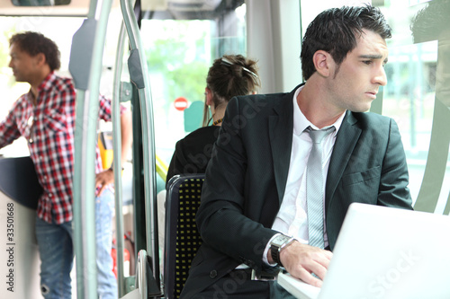 Businessman on the bus