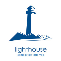 Logo lighthouse on the cliff # Vector